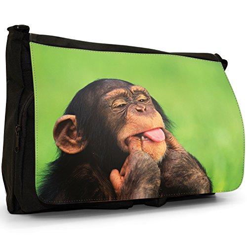 Fancy A Bag Borsa Messenger nero Chimpanzee Chimpanzee Sticking Tongue Out