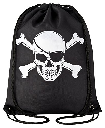 Aminata Kids - Kinder-Turnbeutel für Mädchen und Junge-n mit Piraten-Schiff Schatz Toten-Kopf-Flagge Pirat-en Sport-Tasche-n Gym-Bag Sport-Beutel-Tasche schwarz Weiss