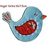 2 Parche de bordado o planchado Turquesa Pájaro 9X8Cm Delfín 9X9Cm termoadhesivos bordados aplique para ropa con diseño de TrickyBoo Zurich Suiza por España