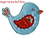 2 iron-on patches fabric appliques Bird turquoise 9x7.5 and Hare 6,5x10cm TrickyBoo Design Zurich