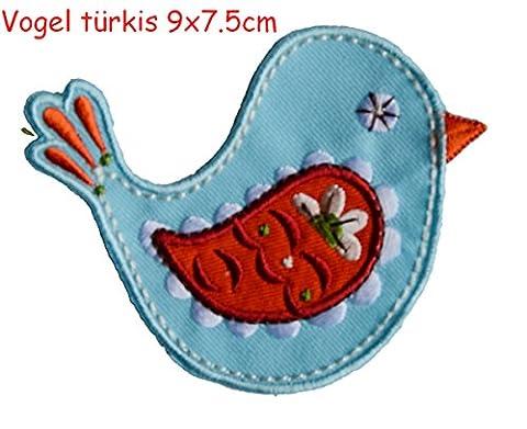 2 Ecussons patch appliques Turquoise Oiseau 9X8Cm Fleur Hibou 8X9Cm