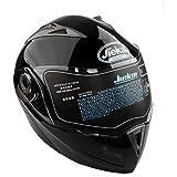 Casco de Moto de Doble Lente con Visera Integral Casco de Protección de Motocicleta (XL, Negro)