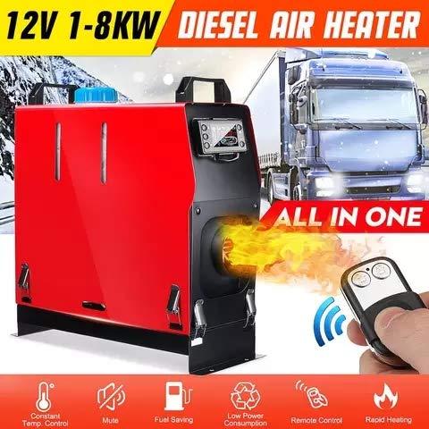 Riscaldatore d'Aria Diesel 12 V, Distanza Telecomando 100M, riscaldatore da parcheggio 8Kw con termostato LCD e Doppio silenziatore per Camion, Barche, Autobus, Automobili, Camper.