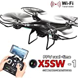 Malloom X5SW-1 Wifi FPV RTF 2.4G 4CH RC Negro quadcopter cámara Drone con HD cámara UAV, negro