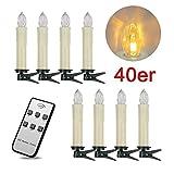 SPEED 40er LED Kabellos Weihnachtskerzen Lichterkette Kerzen Christbaumschmuck Weihnachtsbaumbeleuchtung Warmweiß