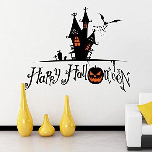 HiMqhy Halloween Kürbis Fledermäuse Glasvitrine und Fenster fein Wandaufklebern Haunted House Horror Atmosphäre Kontrast schwarz Dekoration Pvc wasserdicht Aufkleber können entfernt (Kostüme Haunted Ghost)