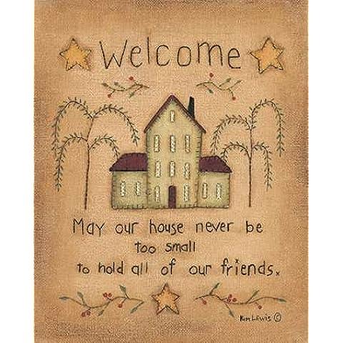 Welcome by Lewis, Kim, Stampa Giclée su tela in carta e decorazioni disponibili, Tela, SMALL (Folk Primitive Decor)