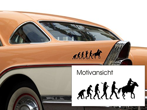 KFZ-Aufkleber, Evolution Reiter, Reitsport, Pferd, Pferde, 300 mm x 100 mm (M070 Schwarz)