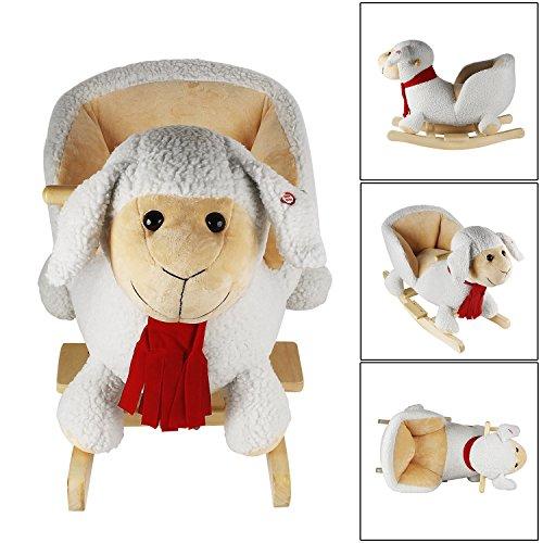 Schaukelpferd Schaf Baby Schaukelpferd mit Sound Schaukelpferd Kinder Schaukeltier Plüsch Schaukelpferd ab 1 jahr