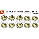 A J Creations Diwali Diya Lights Candle Holder Home Decoration, Set Of 10