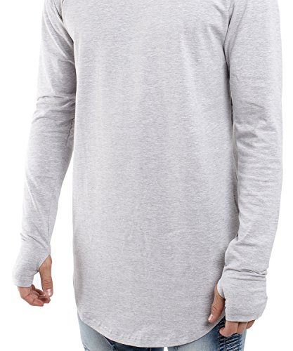 Phoenix Oversize Round Longsleeve T-Shirt Herren Langarm Longshirt Abgerundet Aschgrau