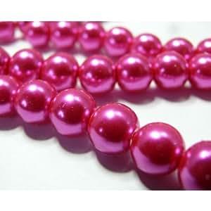 10 perles de verre nacre rose fushia 8mm GP8