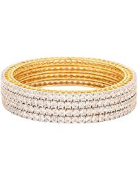 Ratnavali Jewels American Diamond Gold Plated Traditional Bangle CZ Bangle Set White Diamond Bangles Set For Women...