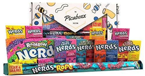 Picaboxx Wonka Nerds Geschenkbox für amerikanische Süßigkeiten - 12 Produkte Sparpaket | Amerikanischer Süßigkeitskorb | Süße Geschenkbox mit Schaufenster -