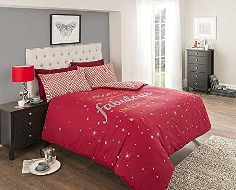3-teiligesWende-Bettwäsche-Set, Bettbezug mit 2Kissenbezügen, für Doppelbett, Rot mit weißem Sternen-Motiv, modernes (Ge Quilt Designs)