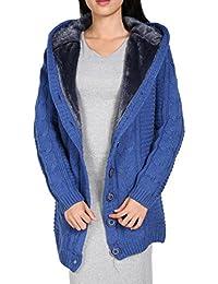 FINEJO Womens Cardigan Hoodie Sweater Hooded Sweatshirt Jacket