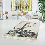 carpet city Druckteppich Flachflor Polyester Waschbar Eiffelturm Paris Creme grau 130x200cm