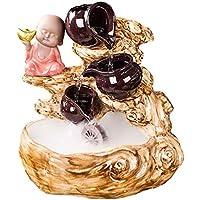 Fuente de agua de interior Fuente de cerámica hecho a mano de Little Monk regalos Crock Oficina Adornos Fuente de agua de escritorio Fuentes del acuario principal fuente decoración de escritorio (Colo