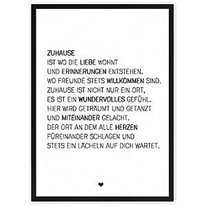 Zuhause & Familie - einzigartiger Kunstdruck mit Spruch auf wunderbarem Hahnemühle Papier DIN A4 (optional A3...