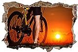Fahrrad Bike Sonnenuntergang Wandtattoo Wandsticker Wandaufkleber D0574 Größe 60 cm x 90 cm