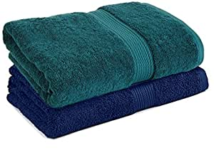 Trella 100% Cotton 500 GSM Large Cotton Bath Towel Set - 2 Piece :: 140 x 70 cm (Green Blue)