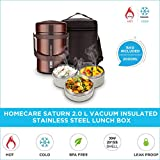 Homecare Saturn Stylish and Trendy 2.0 L Vacuum Insulated Stainless Steel Lunch Box with 3 Spill-Proof containers - Easy handling Bag | BPA Free | (Maroon)