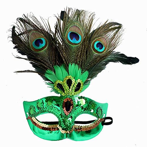 zchg Gesichtsmaske mit Pfauenfedern, venezianische Maske, Pailletten für Party, Cosplay, Kostüm grün ()