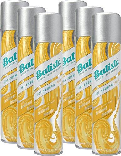 Batiste Trockenshampoo Dry Shampoo Brilliant Blonde mit einem Hauch von Farbe für blondes Haar, Frisches Haar für alle Haartypen, 6er Pack (6 x 200 ml)
