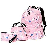 Dream Unicorn School Bag Set, Junlion Soft Polyamide Bag Waterproof Lightweight Laptop Backpack Lunch Bag Pencil Case for Pupils Office Worker Pink