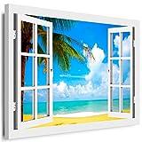 BOIKAL XXL42-6 Fensterblick Leinwand bild 3D Illusion - FERTIG GERAHMTE BILDER Kein POSTER ! ! Wandbild 120 x 100 cm Weiß ! Farbe - Große 21 Variante wählbar ! Fenster Kunstdruck Landschaft Palme, Meer Strand, Urlaub