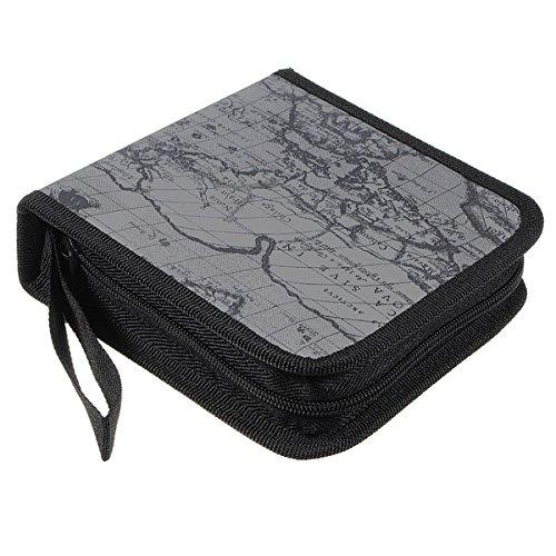 SODIAL (R) 40 Disco Fashion Mappa Porta CD DVD di immagazzinaggio della cassa del manicotto Box Wallet Bag Album Zipper - grigio