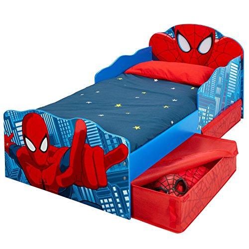 #Kinderbett mit Schubladen Spider-Man 140x70cm – Kleinkinderbett mit stabilem Rausfallschutz#