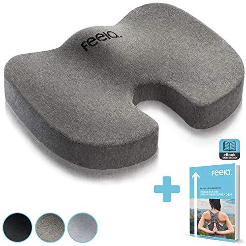 feela.® Premium Orthopädisches Sitzkissen für Büro und Auto inkl. E-Book - Ergonomisches Sitzkissen wirkt Schmerzreduzierend, Erhöht Sitzkomfort und Durchblutung, Entlastet das Steißbein (Dunkelgrau)