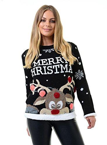 Mymixtrendz. Donne Signore Xmas Reindeer Buon Natale novità 3D Bubbles Maglione Maglione 8-22 (SM (UK 8-10), Black)