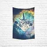 InterestPrint Custom Galaxy Hipster Cat Cotton Linen Bedspread Dorm Decor Wall Hanging Tapestry 40x60 inch