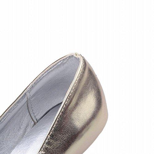 Mee Shoes Damen high heels ohne Verschluss Glattleder Pumps Gold