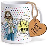 TIED RIBBONS Fathers Day Gifts For Dad | Gift For Dad On Father's Day | Fathers Day Gifts From Daughter | Printed Coffee Mug With Wooden Tag