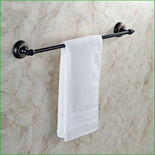 Yomiokla accessori per il bagno - cucina, servizi igienici, balcone e anello porta asciugamani in metallo antiquariato in ottone nero base floreale montato a parete singola leva