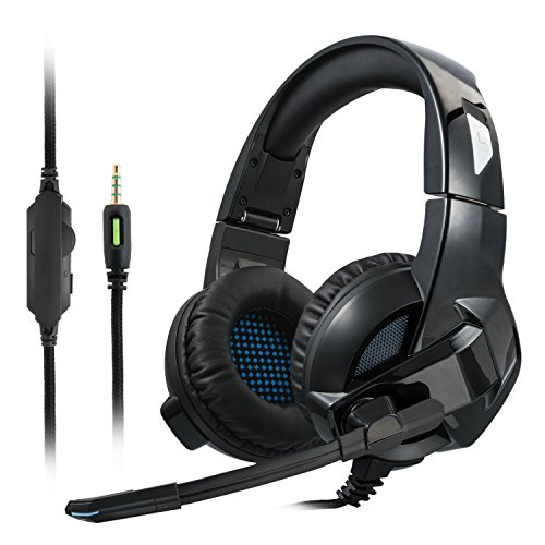 Gaming Kopfhörer, Cocopa Gaming Headsets für PS 4 Nintendo 3DS X-box One PC Laptop Mac Tablet Surround - Over-ear Ohrpolster Musik und Spiel Headset Wired (Stereo mit Mikrofon) Komfortable