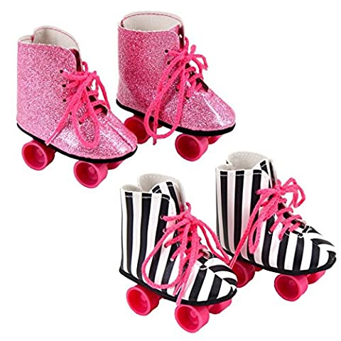 iBayda Fashion 2 Pairs Rockin' Roller Skates For 18 inch Dolls Including Glitter Roller Skates and Zebra Roller