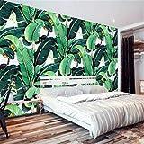 3d tessuto non tessuto carta da parati murale Carta Da Parati Personalizzata Murale Carta Da Parati Dipinta A Mano In Stile Europeo Retro Dipinto A Mano Foresta Pluviale Pianta A Foglia Di Banano 3D, 200Cm * 140Cm
