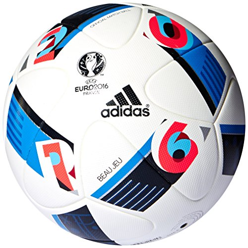 adidas Herren Ball EURO 2016 Official Match White/Bright Blue/Night Indigo 5