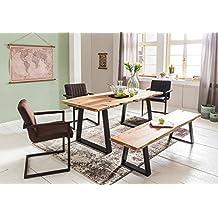 WOHNLING Esszimmer Tisch Baumstamm Massivholz Akazie 140 X 76 80 Cm