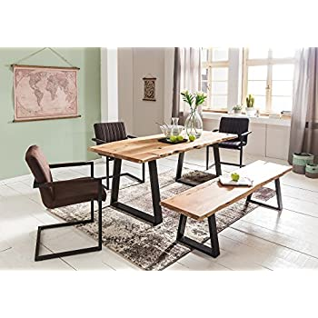 WOHNLING Esszimmer Tisch Baumstamm Massivholz Akazie 120 X 76 X 60 Cm |  Robuster Naturholz