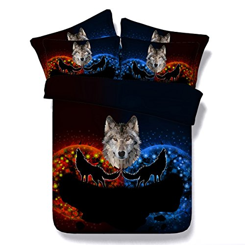 3D Wolf Druckeffekt Bettbezüge Schlafzimmer Doppel Bettwäsche Für Familie Freund Neuheit Geschenk Mit Kissenbezüge 3 Stücke , 200Cmx220Cm