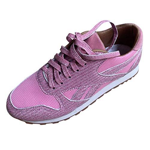 Dorical Damen Pailletten Glitzer Sneaker Frauen Elegant Laufschuhe Outdoor Freizeitschuhe Sportschuhe Stoffschuhe Atmungsaktiv Schnürschuhe Gr 36-43(Rosa,38 EU)