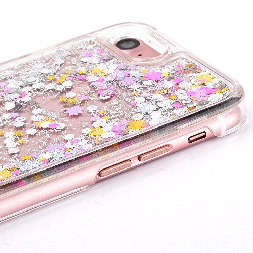 iPhone 7 Hülle,Mo-Beauty® Schutzhülle iPhone 7 Hülle Transparent Hardcase,Dynamisch Treibsand Flüssige Fließend Wasser Schutzhülle 3D Kreative Liquid Bling Hülle Case Glitzer Glitter Shiny Glanz Spark Colorful