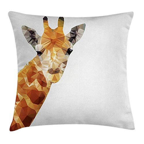 yting Giraffe Dekorative quadratische Akzent KissenbezugGeometrisches Polygonales Muster-Tierschattenbild-Dreieck-Zusammenfassungs-wild lebende Tiere,45 X 45cm