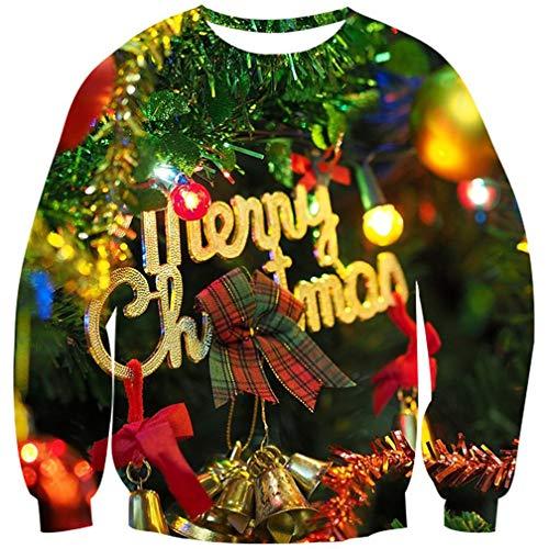 Goodstoworld 3D Merry Christmas Pullover Weihnachtsbaum Jugendliche Mädchen Herren Weihnachtspullover Hässliche Hemd Kleider L