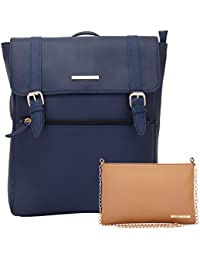 62ecc0a6ab Lapis O Lupo Combo Azure Women Backpack and Sling Bag (Blue